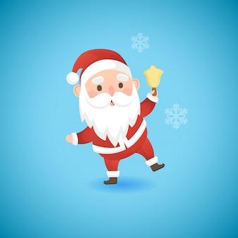 Christmas funny santa claus holding gold bell, vector illustration.