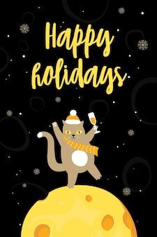 Рождественский смешной набор поздравительных открыток новый год векторные иллюстрации с кошкой