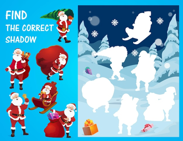 Christmas game of find and match shadows of santa