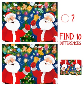 Christmas game of find or spot differences with santa cartoon characters. children education mind game, puzzle or worksheet template with claus, christmas tree and bell, xmas stocking and snow