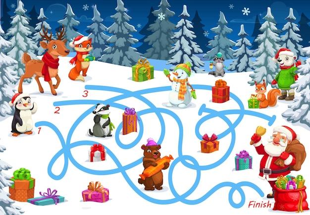 クリスマスゲームまたは迷路、迷路マップとパズル