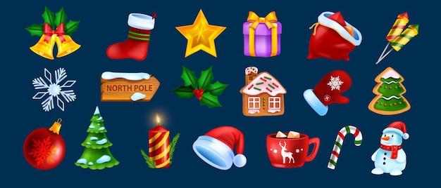 クリスマスゲームuiアイコンセットベクトルクリスマス冬の休日シンボルキット新年の漫画のデザイン要素