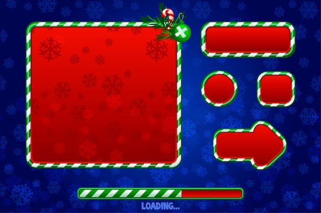 Ui 그래픽 자산을위한 크리스마스 게임 ui 유틸리티. 버튼, 보드 및 프레임. 게임 로딩