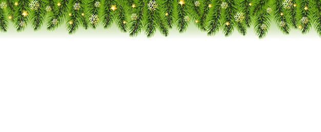 クリスマスガーランドとクリスマスゴールデンスターグラデーションメッシュと白い背景