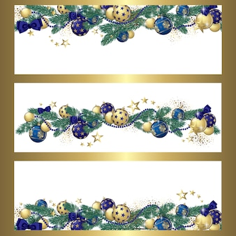 Christmas garland banners background
