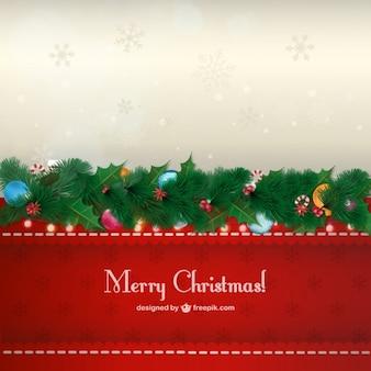 Christmas garland card Free Vector