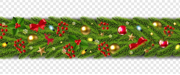 Christmas garland and christmas golden ball