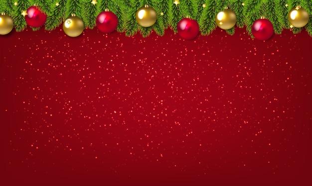 Christmas garland and christmas red and golden ball