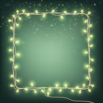 Christmas garland lights, holiday background.