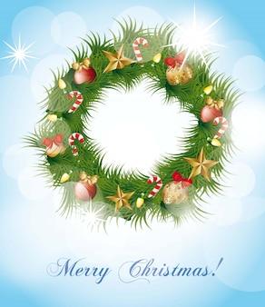 Рождественская гирлянда на синем фоне