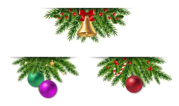 Новогодняя гирлянда с елочными шарами и украшениями