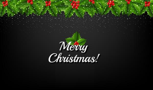 Рождественская гирлянда с холли берри и снегом