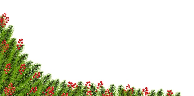 Christmas garland with holly berry border