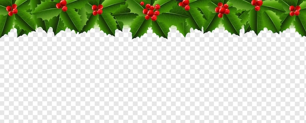 Christmas garland with holly berry