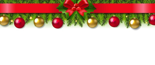Christmas garland with red ribbon