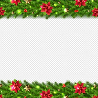 Christmas garlands border isolated on transparent