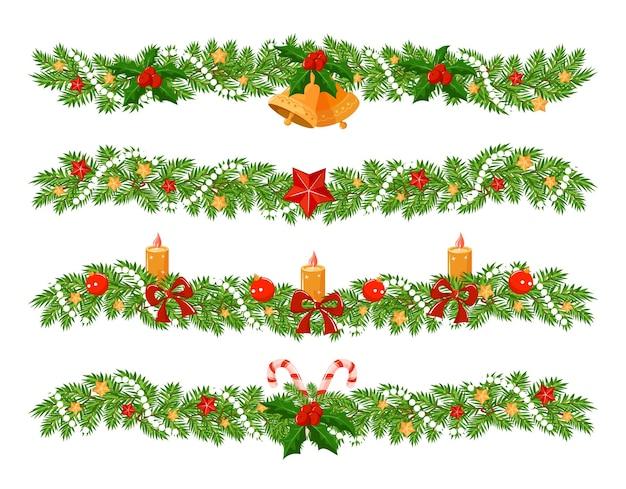 さまざまな装飾のトウヒの足で作られたクリスマスの花輪。 4つの水平方向の境界線のセット。