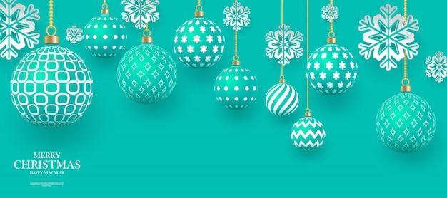 기하학적 모양과 눈송이와 크리스마스 부드럽게 녹색 싸구려. .