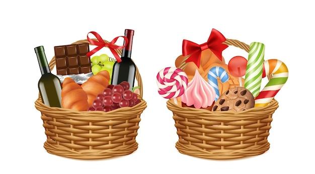 Рождественские подарочные корзины. реалистичная упаковка для продуктов, праздничные промо-подарки продуктового магазина