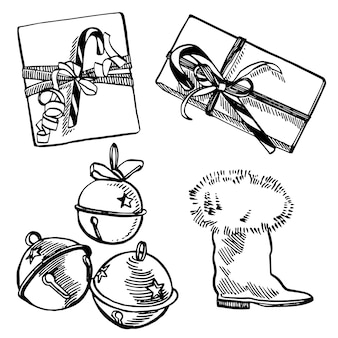Рождественский подарок, колокольчики и ботинок. рисованной иллюстрации новый год и рождественские элементы дизайна. , старинные иллюстрации