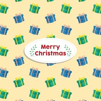Рождественский подарок коробка фон вектор