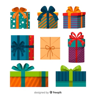 Christmas gift box collection in flat design