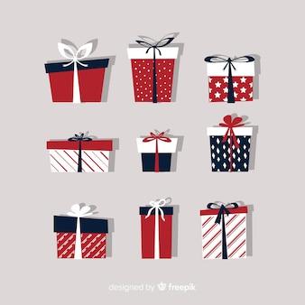 평면 디자인의 크리스마스 선물 상자 모음