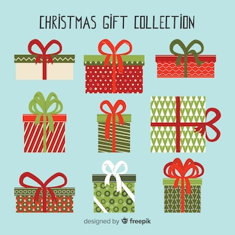 Christmas gift box collection with geometric pattern