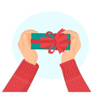손에 크리스마스 선물 상자