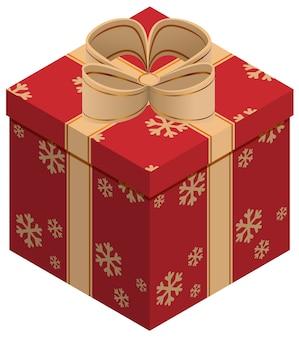 Рождественская подарочная коробка. изометрические иллюстрации. изолированные на белом