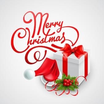 Christmas gift box and santa hat. vector illustration eps 10