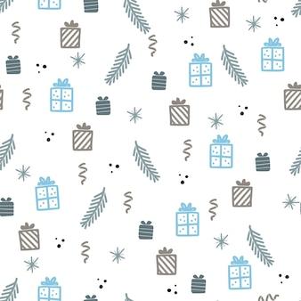 Рождественская подарочная коробка бесшовные модели. ручной обращается каракули стиль зимний рождественский узор. векторная иллюстрация.