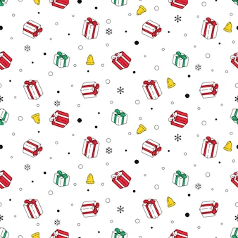 Рождественская подарочная коробка бесшовные модели снежинка