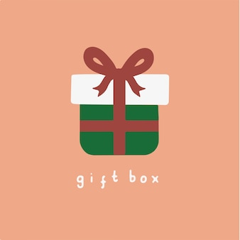 Рождественский подарок коробка символ социальных сми сообщение рождественские векторные иллюстрации