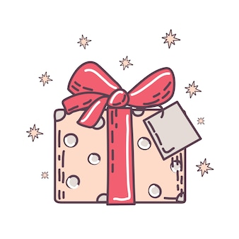 Christmas gift box on white isolated background vector