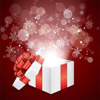Рождественская подарочная коробка со снежинкой и боке