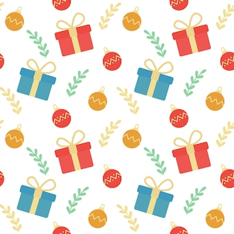 Christmas Gift boxes and Ornaments Seamless Pattern Background