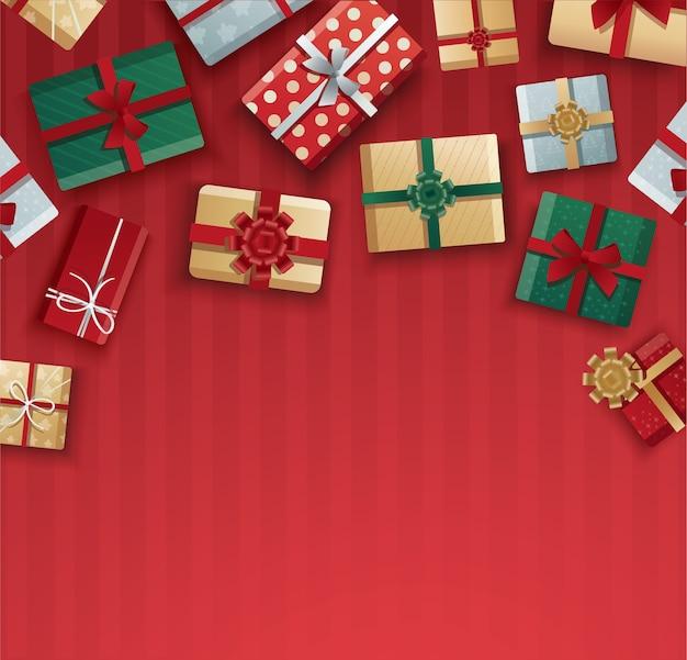 クリスマスのギフトボックス、赤い背景のギフトボックス