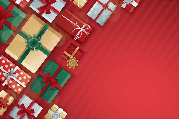 Christmas gift boxes, gift boxes on red background