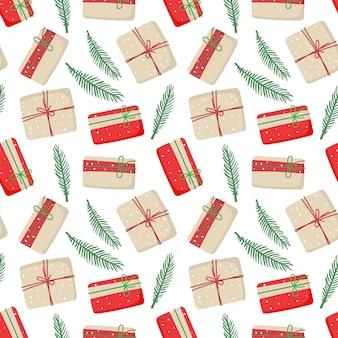 Рождественские подарочные коробки из крафт-бумаги бесшовные шаблон нулевая упаковочная бумага с подарками
