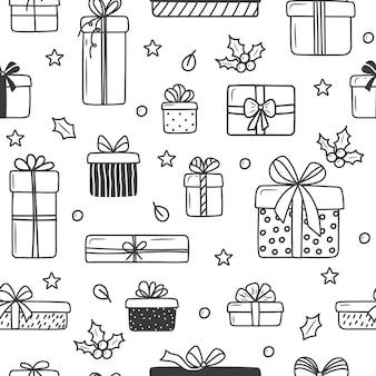 Рождественские подарочные коробки шаблон в стиле каракули бесшовные векторные шаблон