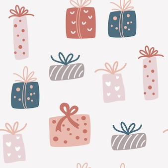 Рождественские подарочные коробки бесшовные модели. креативный скандинавский фон для обоев, одежды, упаковки приглашений, постеров. праздник повторяющиеся текстуры с подарками. векторные иллюстрации шаржа.