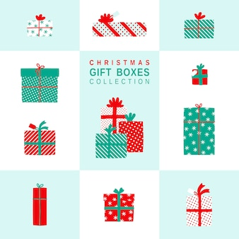 Christmas gift boxes simple illustrations set