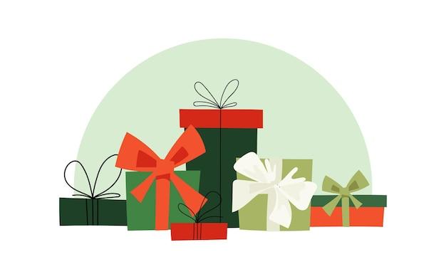 Рождественские подарочные коробки с бантами из ленты. векторная иллюстрация.