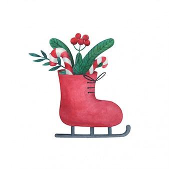 크리스마스 선물, 사탕 및 전나무 가지.