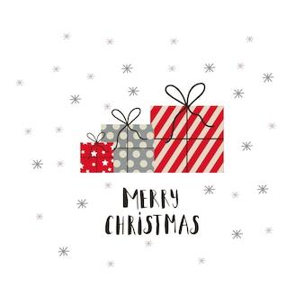 プレゼント、クリスマスツリー、雪のクリスマスギフトカード。簡単に編集できるテンプレート。カード、ポスター、tシャツ、バナーのかわいいイラスト。