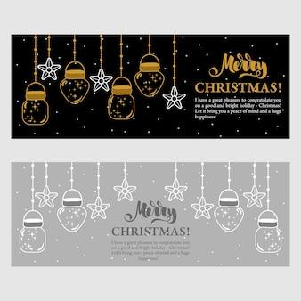 Рождественские подарочные карты с надписями и рисованными элементами дизайна