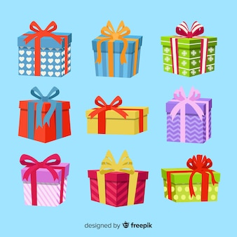 Christmas gift collection flat design style