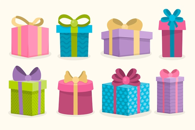Christmas gift collection in flat design