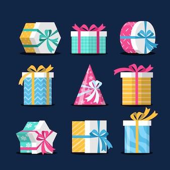 フラットなデザインのクリスマスプレゼントコレクション
